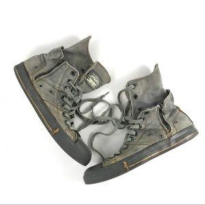 Levi's distresses grey denim high top sneakers